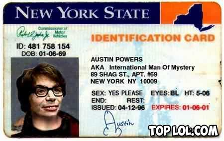 La carte d'identité d'Austin Powers